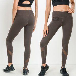 Mono B AP1324 Brown Yoga Leggings with Mesh Accent
